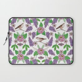 Lilacs, Peonies, Hellebore, & Sparrows - Pink & Purple Flowers w/ Birds & Moths Laptop Sleeve