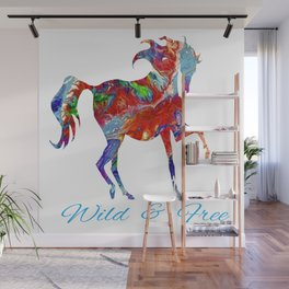OLena Art Colorful Horse Design Wild and Free Wall Mural
