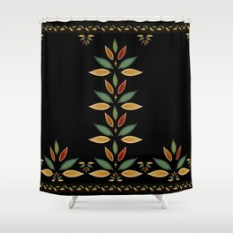 """Tree of Polka Dots Leaves (Black)"" Shower Curtain"