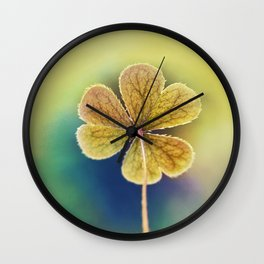 Heart-shaped Clover like Oxalis Macro. St Patrick's Day Wall Clock