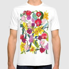 Tulips & Daffodils  Mens Fitted Tee White MEDIUM