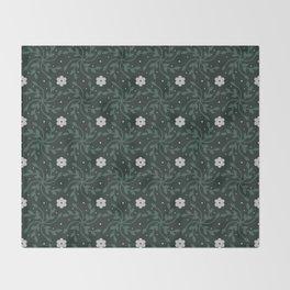Green Floral Vine Throw Blanket