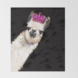 Llama Queen Throw Blanket