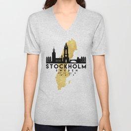 STOCKHOLM SWEDEN SILHOUETTE SKYLINE MAP ART Unisex V-Neck