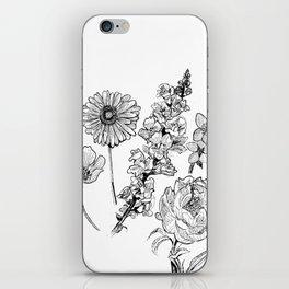 Flower Sketch Illustration - Gerbera, Snapdragon, Rose, Plum Blossom, Cosmos iPhone Skin