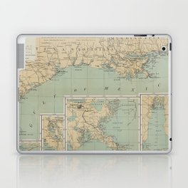 Vintage US Gulf of Mexico Lighthouse Map (1898) Laptop & iPad Skin