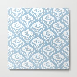 Calla Lily Pattern Light Blue Metal Print