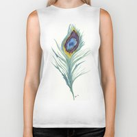 peacock feather Biker Tanks featuring Peacock Feather by Paxelart