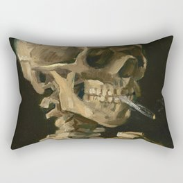 Vincent van Gogh - Skull of a Skeleton with Burning Cigarette Rectangular Pillow