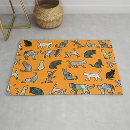 Cats shaped Marble - Black Orange Halloween Rug