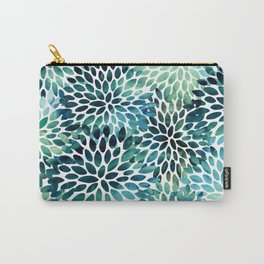 Floral Watercolor, Navy, Blue Teal, Abstract Watercolor Carry-All Pouch