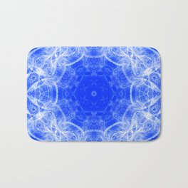 Fractal lace mandala in blue and white Bath Mat