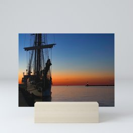 Blue hour in the harbor Mini Art Print