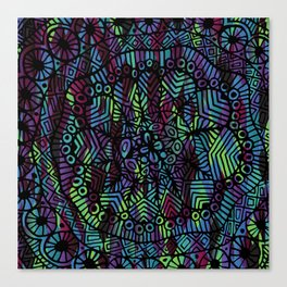 Purple and Green Doodle 14 Canvas Print