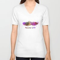 kansas city V-neck T-shirts featuring Kansas City skyline in watercolor by Paulrommer