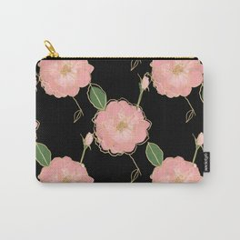 Elegant Pink & Gold Watercolor Roses Black Design Carry-All Pouch