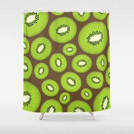 Kiwi Fruit Pattern (Brown) Shower Curtain