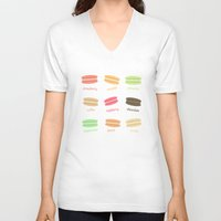 macaroons V-neck T-shirts featuring Love Macaroons by Imagology