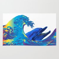 hokusai Area & Throw Rugs featuring Hokusai Rainbow & Dolphin by FACTORIE