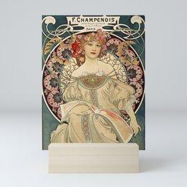 F. Champenois Alphonse Mucha - printer lithographer - peasant woman - neoclassical gown Egyptian - floral motifs hair - Ad Wall Decor Print Mini Art Print