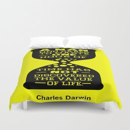 A man who dares to waste one hour of time Charles Darwin Famous Inspirational Quotes Duvet Cover