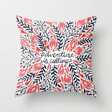 Adventure is Calling – Red & Black Palette Throw Pillow