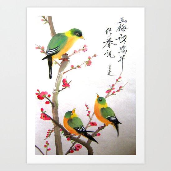 green bird chatting Art Print