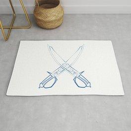 Crossed Cutlasses Blue Outline Rug