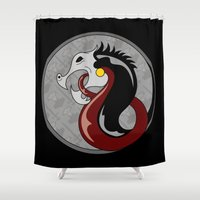 shield Shower Curtains featuring Viking Shield by Andrew Leif Hanssen