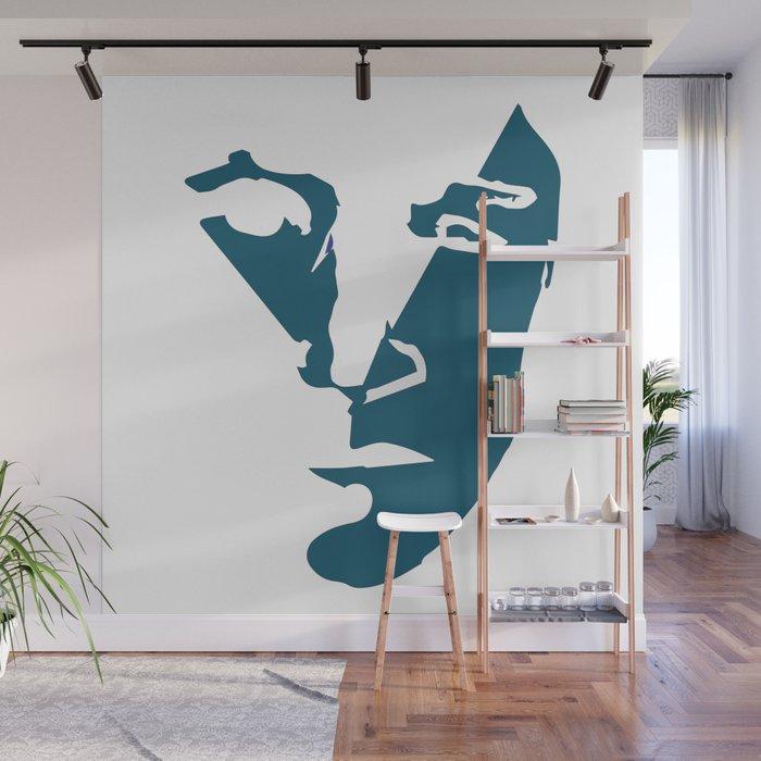 Modern Abstract Art Blue Head Face Wall Mural By Hundkatzeschmaus