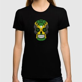 Sugar Skull with Roses and Flag of Jamaica T-shirt