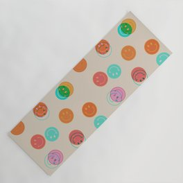 Smiley Face Stamp Print Yoga Mat