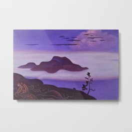 Islands in Early Morning Fog, Buried Treasure magical realism landscape painting by Nicholas Roerich Metal Print