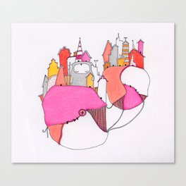 Pink city lights Canvas Print