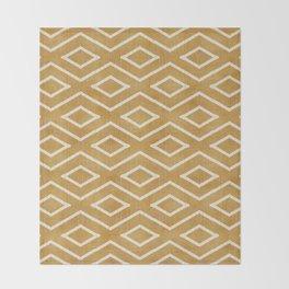 Stitch Diamond Tribal in Gold Throw Blanket