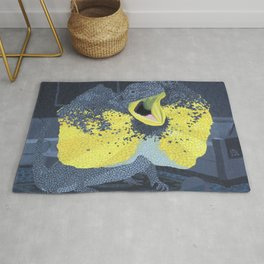 Black and Yellow Frilled Lizard in a Grey Room Rug