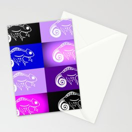 Purple chameleon collage, purple and pink designs, purple and pink cushon Stationery Cards