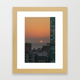Aerial View of Sunset at the River in Montevideo Uruguay Framed Art Print