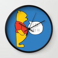 winnie the pooh Wall Clocks featuring WINNIE THE POOH by DrakenStuff+