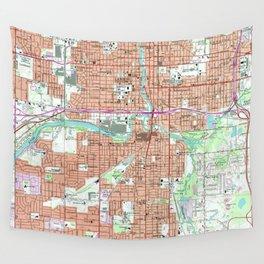 Vintage Map of Lansing Michigan (1965) Wall Tapestry