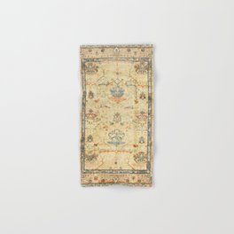 Fine Crafted Old Century Authentic Colorful Yellow Dusty Blues Greys Vintage Rug Pattern Hand & Bath Towel