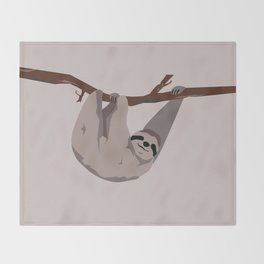 Sloth just hangin' Throw Blanket