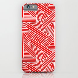 Sketchy Abstract (White & Red Pattern) iPhone Case