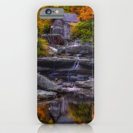 USA Watermill Glade Creek Grist Mill, West Virginia Autumn Nature Stones water mill stone iPhone Case