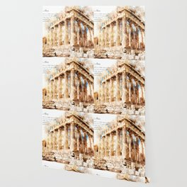 Acropolis, Athens, Aquarell Wallpaper