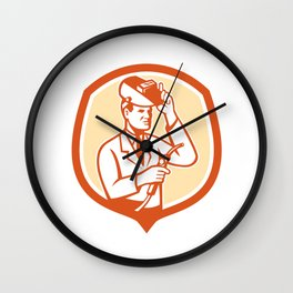 Scientist Lab Researcher Welder Shield Retro Wall Clock