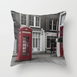 Red is everywhere london street england Throw Pillow