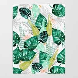 Tropical jungle white Poster