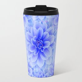 BLUE WHITE DAHLIA FLOWERS IN CHOCOLATE BROWN Travel Mug