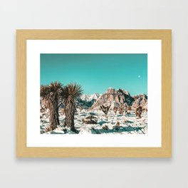 Vintage Lovers Cacti // Red Rock Canyon Mojave Nature Plants and Snow Desert in the Winter Framed Art Print